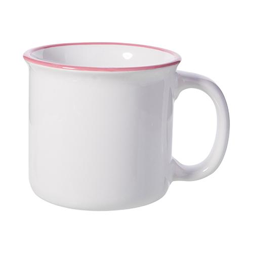 Szublimálható 300 ml-es zománcozott kerámia bögre - fehér, rózsaszín vonallal a peremen