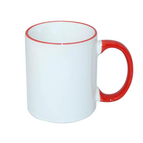 330 ml-es A+ bögre piros füllel, szublimáláshoz, préseléshez