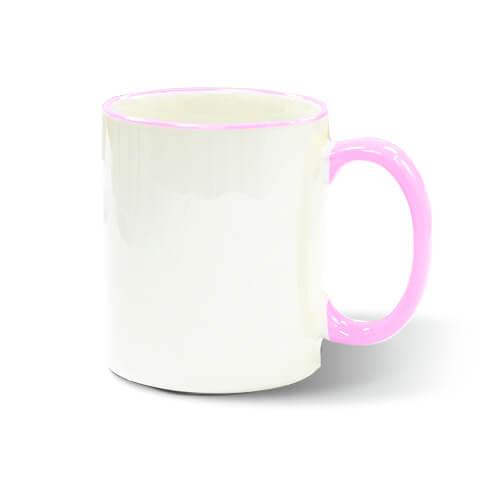 Szublimálható 330 ml-es A+ bögre rózsaszín füllel