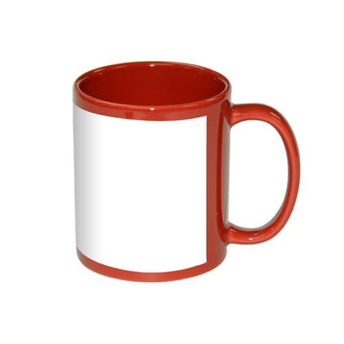 330 ml-es piros bögre szublimálható, préselhető tapasszal