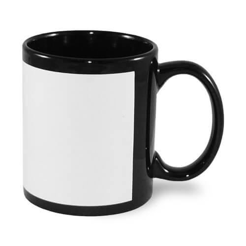 330 ml-es fekete bögre szublimálható, préselhető tapasszal