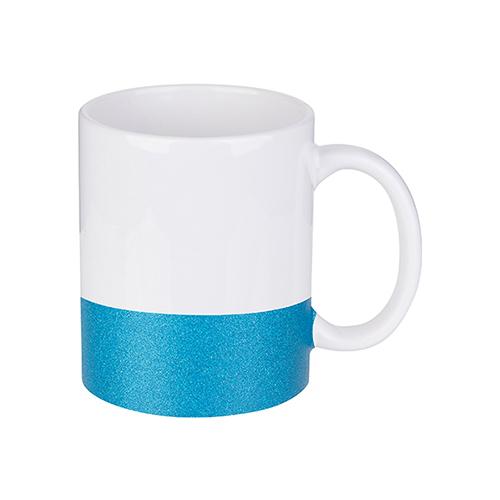 Szublimálható 330 ml-es bögre csillám övvel - kék