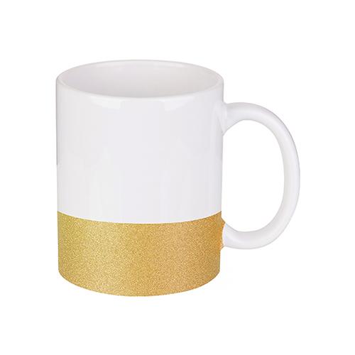 Szublimálható 330 ml-es bögre csillám övvel - arany