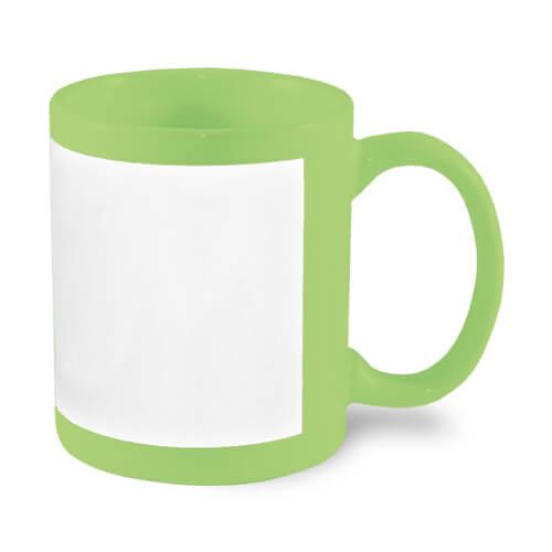 330 ml-es zöld bögre szublimálható, préselhető tapasszal