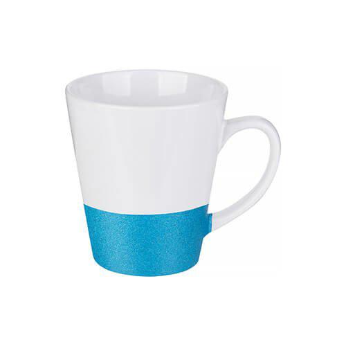 Szublimálható latte bögre, csillám övvel - kék