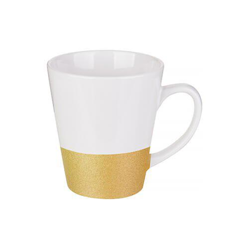 Szublimálható latte bögre, csillám övvel - arany