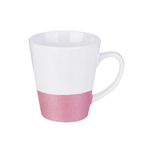 Szublimálható latte bögre, csillám övvel - rózsaszín