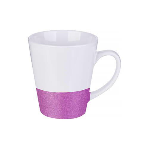 Szublimálható latte bögre, csillám övvel - lila