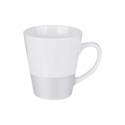 Szublimálható latte bögre, csillám övvel - ezüst
