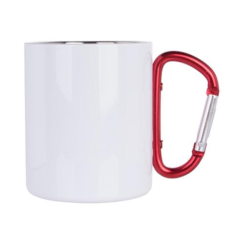 300 ml-es fém csésze karabiner füllel, szublimáláshoz - fehér