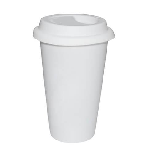Fehér ECO kávés termosz kerámia bögre fehér fedővel, szublimáláshoz, préseléshez