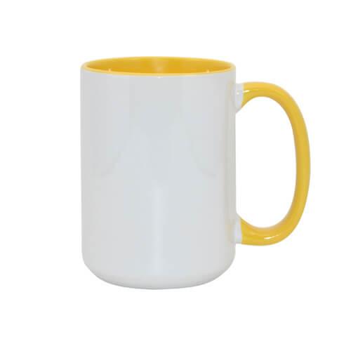 450 ml-es A+ FUNNY MAX bögre, sárga, szublimáláshoz, préseléshez