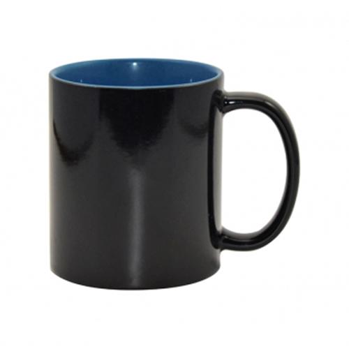 Szublimálható 330 ml-es fekete varázsbögre sötétkék belső résszel