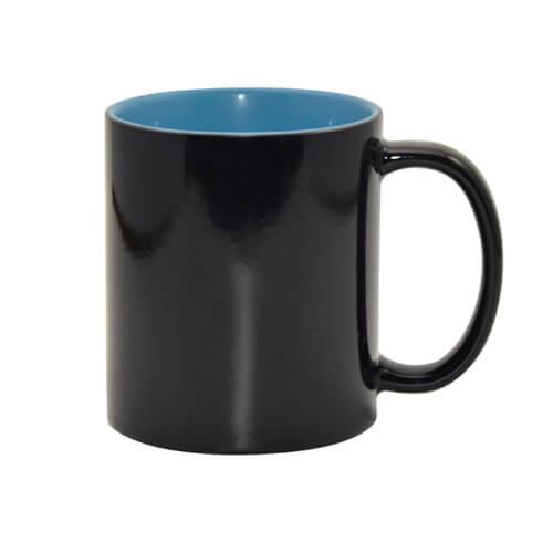 330 ml-es fekete varázsbögre világoskék belső résszel, szublimáláshoz, préseléshez