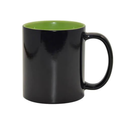 330 ml-es fekete varázsbögre világoszöld belső résszel, szublimáláshoz, préseléshez