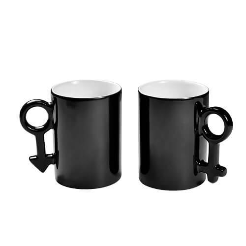 300 ml-es páros varázsbögrék női és férfi jellel, fekete, szublimáláshoz, hőpréseléshez