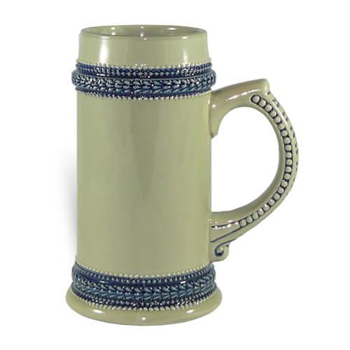 660 ml-es szürke söröskorsó kék szegéllyel, szublimáláshoz, préseléshez