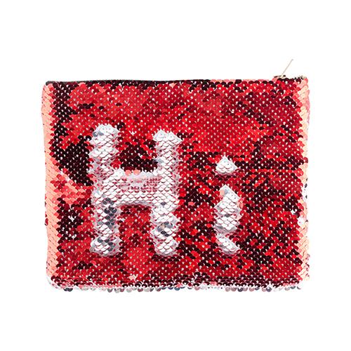 Szublimálható 20,5 x 16 cm piper táska piros flitterekkel