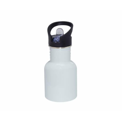 400 ml-es fehér színű biciklis kulacs szájrésszel és szívószállal, szublimáláshoz, préseléshez
