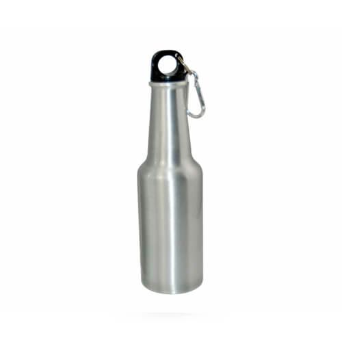 400 ml-es, ezüst színű, palack alakú turista kulacs szublimáláshoz, préseléshez