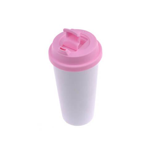 ECO kávés termosz bögre rózsaszín fedővel, szublimáláshoz, préseléshez