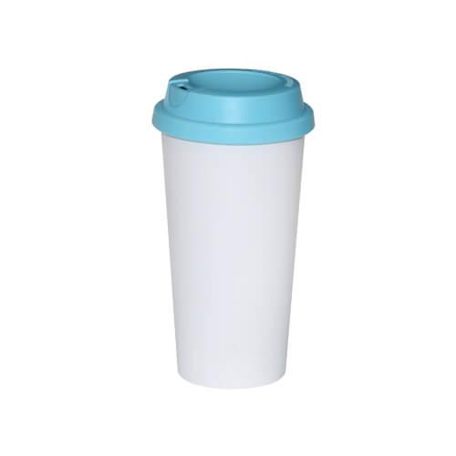 ECO kávés termosz bögre világoskék fedővel, szublimáláshoz, préseléshez