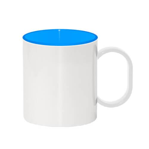 330 ml-es műanyag bögre, kék belső résszel, szublimáláshoz, préseléshez