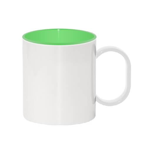 330 ml-es műanyag bögre, zöld belső résszel, szublimáláshoz, préseléshez
