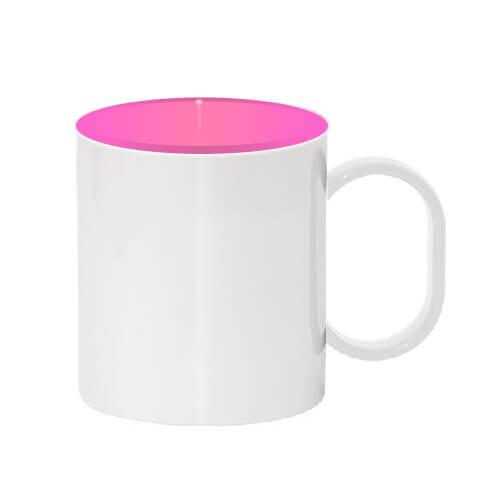 330 ml-es műanyag bögre, rózsaszín belső résszel, szublimáláshoz, préseléshez