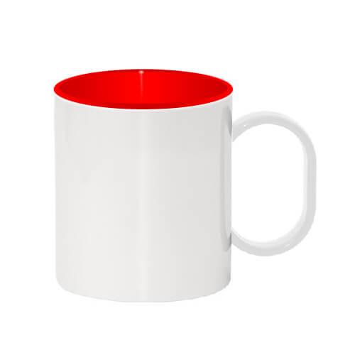 330 ml-es műanyag bögre piros belső résszel, szublimáláshoz, préseléshez