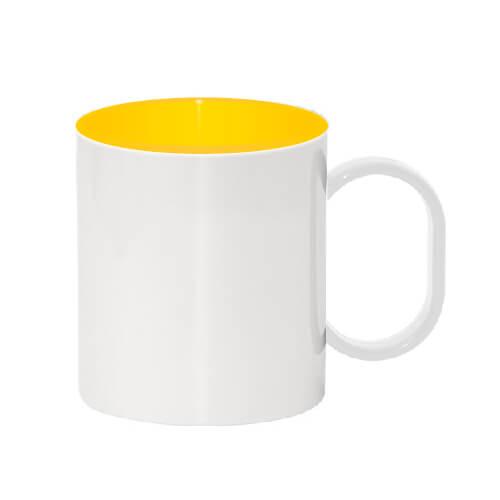 330 ml-es műanyag bögre sárga belső résszel, szublimáláshoz, préseléshez