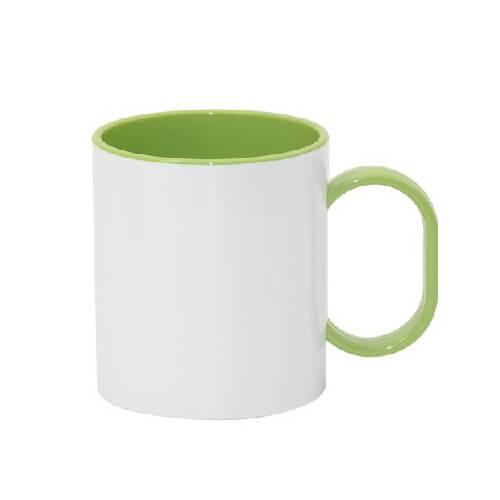 330 ml-es műanyag bögre, zöld, szublimáláshoz, préseléshez