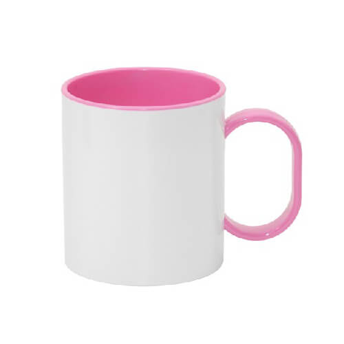 330 ml-es műanyag FUNNY bögre, rózsaszín, szublimáláshoz, préseléshez