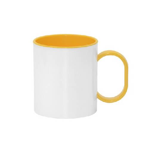 330 ml-es műanyag FUNNY bögre, sárga, szublimáláshoz, préseléshez
