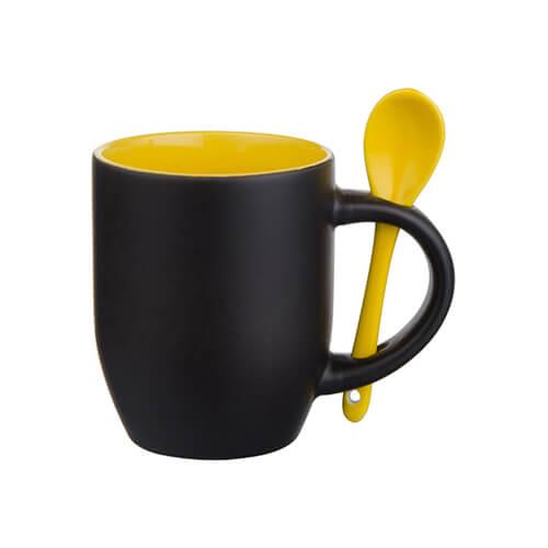 Varázsbögre kanállal, szublimáláshoz, préseléshez - matt fekete, sárga belső résszel