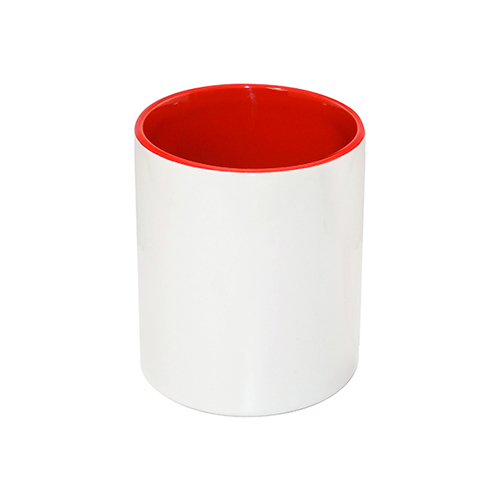 Szublimálható kerámia tolltartó, piros belsővel