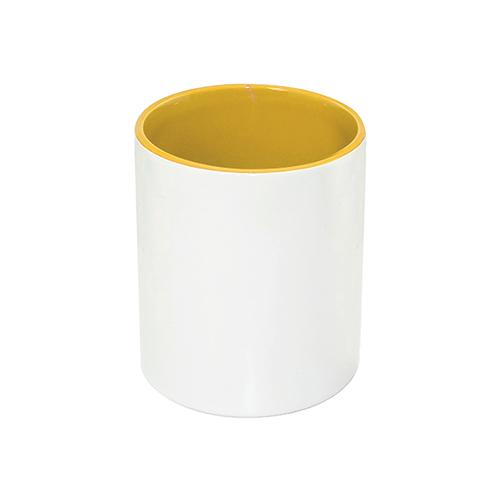 Szublimálható kerámia tolltartó, citromsárga belsővel