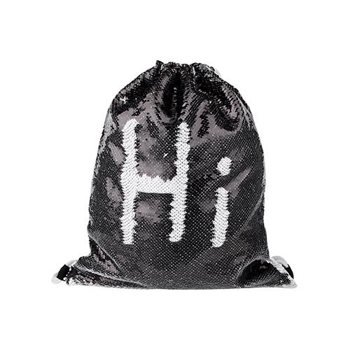Szublimálható 36 x 45 cm hátizsák kétszínú flitterrel - fekete