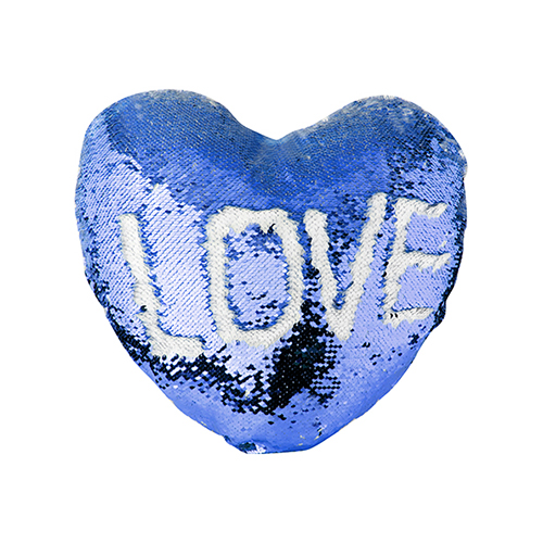 Szublimálható 39 x 44 cm-es szív alakú párnahuzat, két színű flitterrel - kék