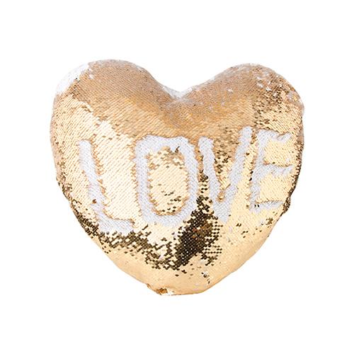 Szublimálható 39 x 44 cm-es szív alakú párnahuzat, két színű flitterrel - arany