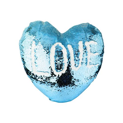 Szublimálható 39 x 44 cm-es szív alakú párnahuzat, két színű flitterrel - világos kék