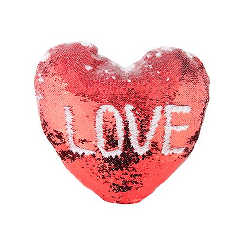 Szublimálható 39 x 44 cm-es szív alakú párnahuzat, két színű flitterrel - piros