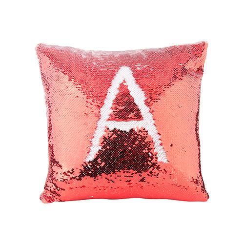 Szublimálható 40 x 40 cm-es párnahuzat, két színű flitterrel - piros