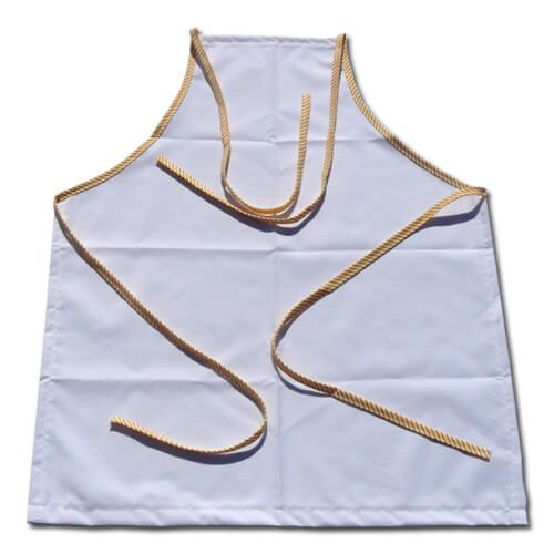 Fényképes konyhai kötény fehér sárga csíkos varrással, szublimáláshoz, préseléshez