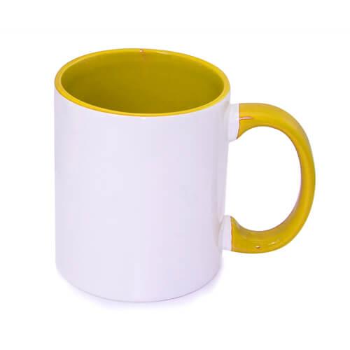 330 ml-es, aranysárga, A+ besorolású FUNNY bögre szublimáláshoz, préseléshez