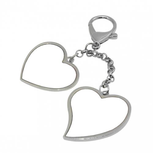 Fém kulcstartó két szív alakú szublimációs felülettel, szublimáláshoz, préseléshez