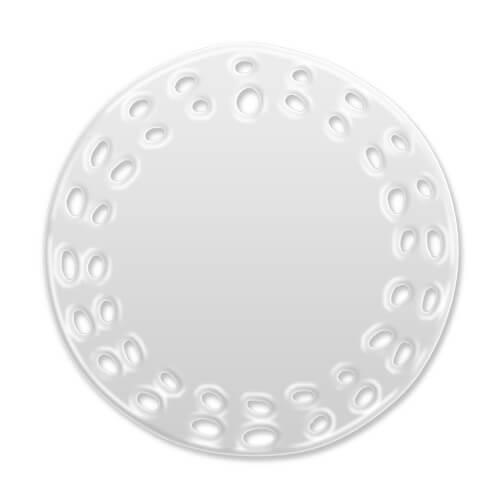 7,5 cm-es átmérőjű, kör alakú kerámiacsempe furatokkal, szublimáláshoz, préseléshez