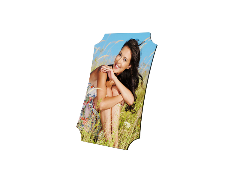 13,5 x 18,5 cm-es, pajzs alakú MDF fotókeret szublimáláshoz, préseléshez