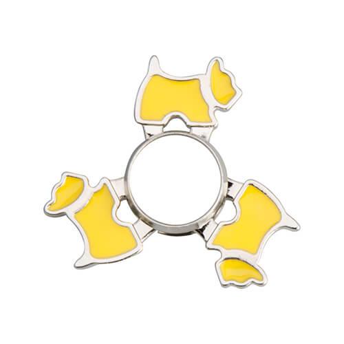 Fém spinner szublimáláshoz - kutya alakú - sárga