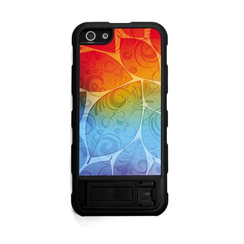 iPhone 5/5S fekete gumi tok állvánnyal, szublimáláshoz, préseléshez